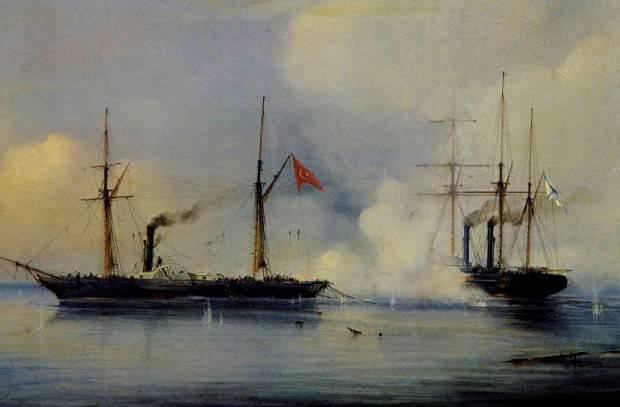 Первый в истории бой паровых кораблей закончился победой русских