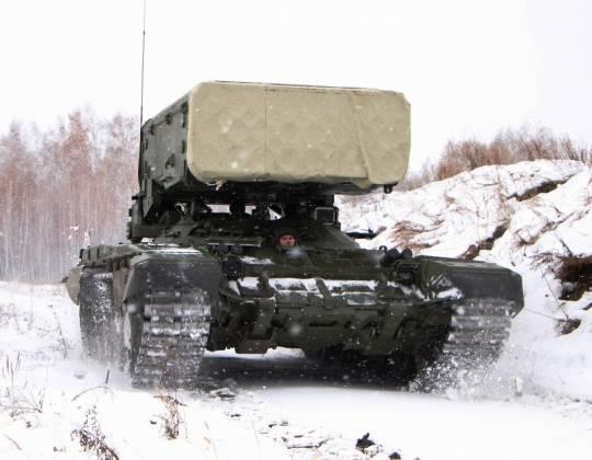 Как у Т-72Б3: первые фото модернизированных ТОС-1А и ТЗМ-Т